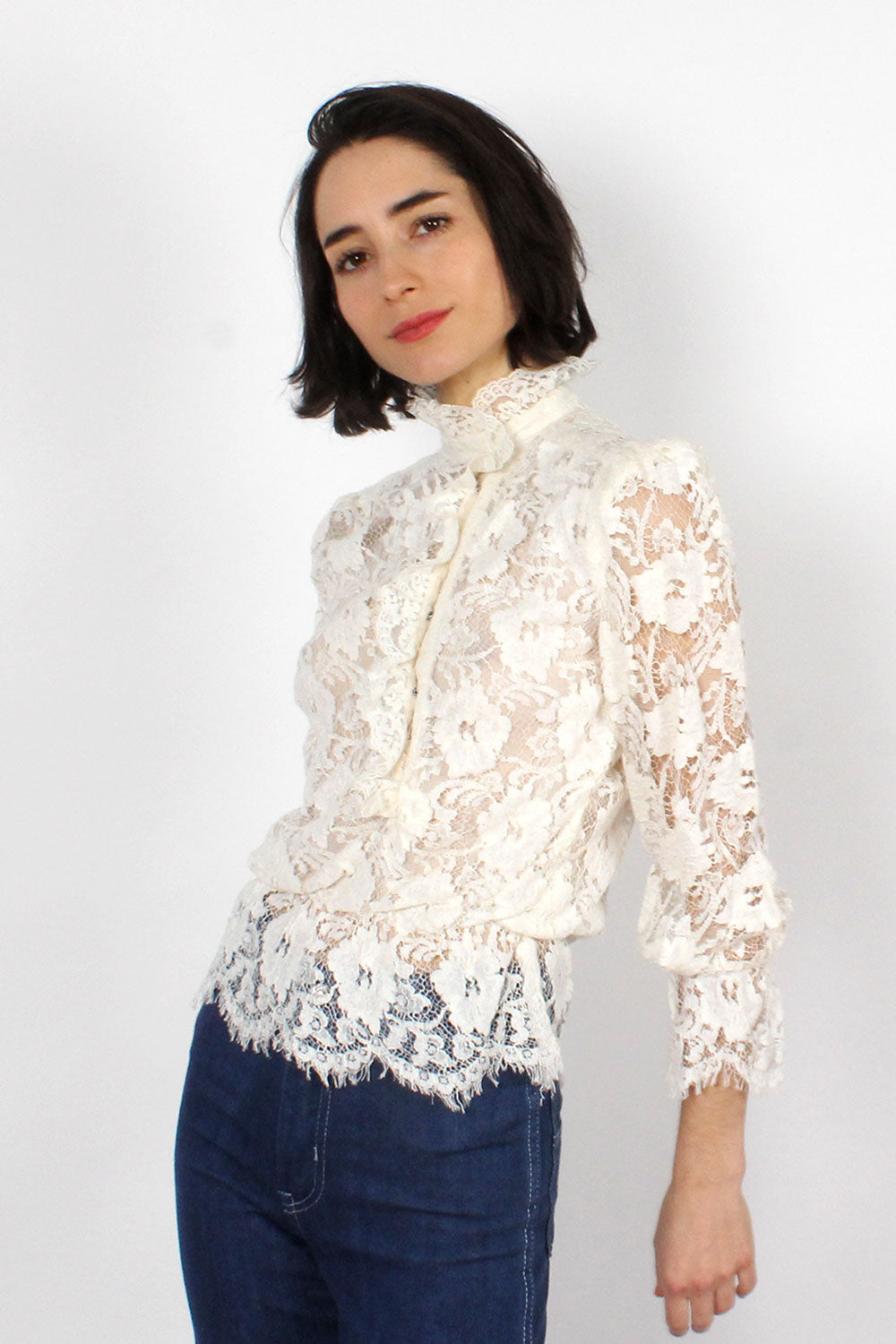 White Lace High Neck Blouse XS/S