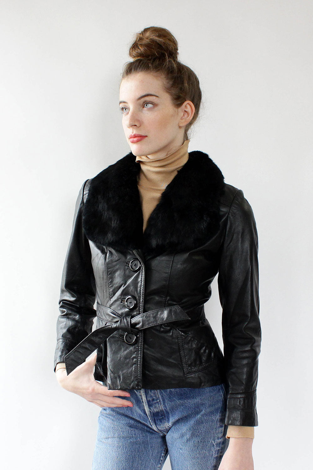 Black Cropped Leather and Fur Jacket XS/S