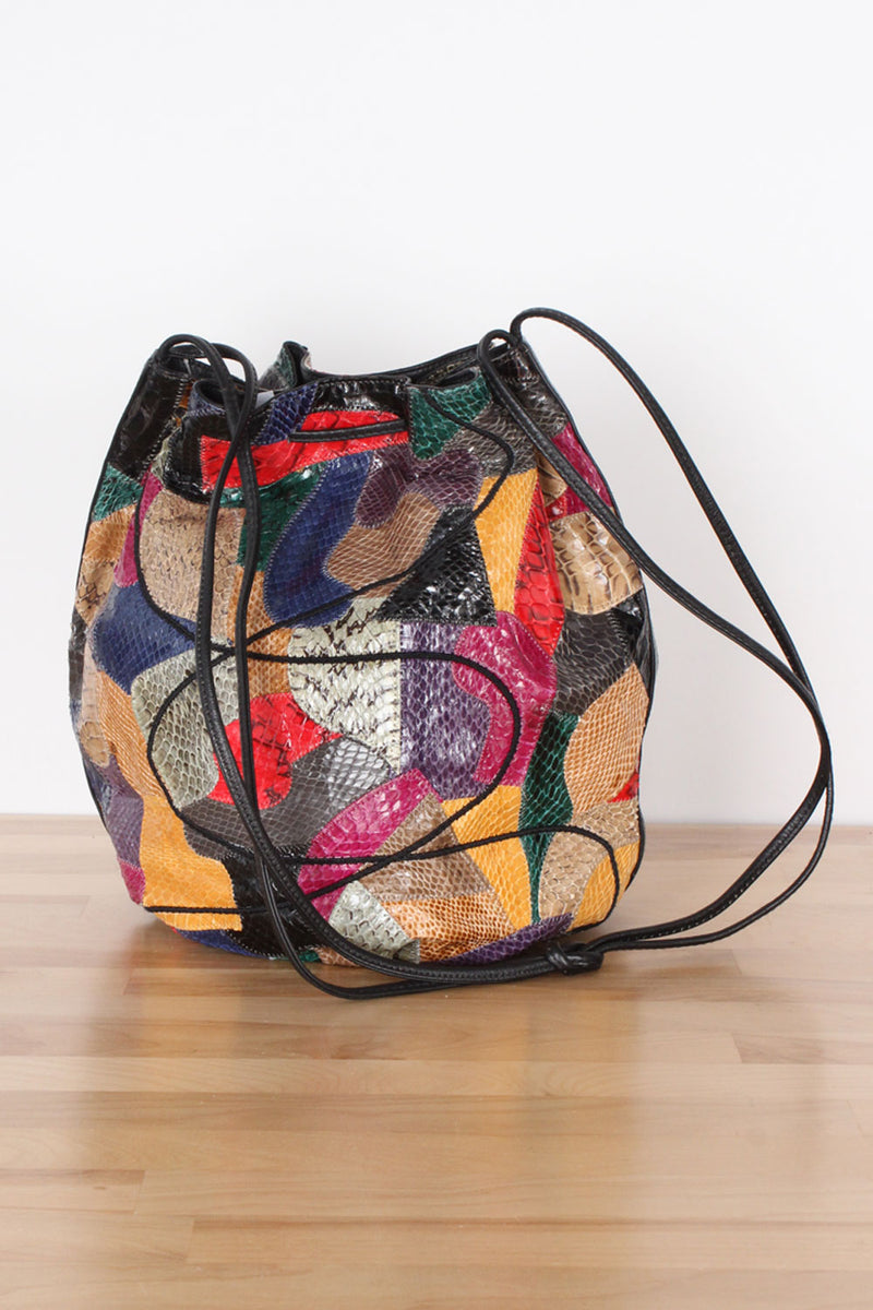 Snakeskin Collage Bucket Bag