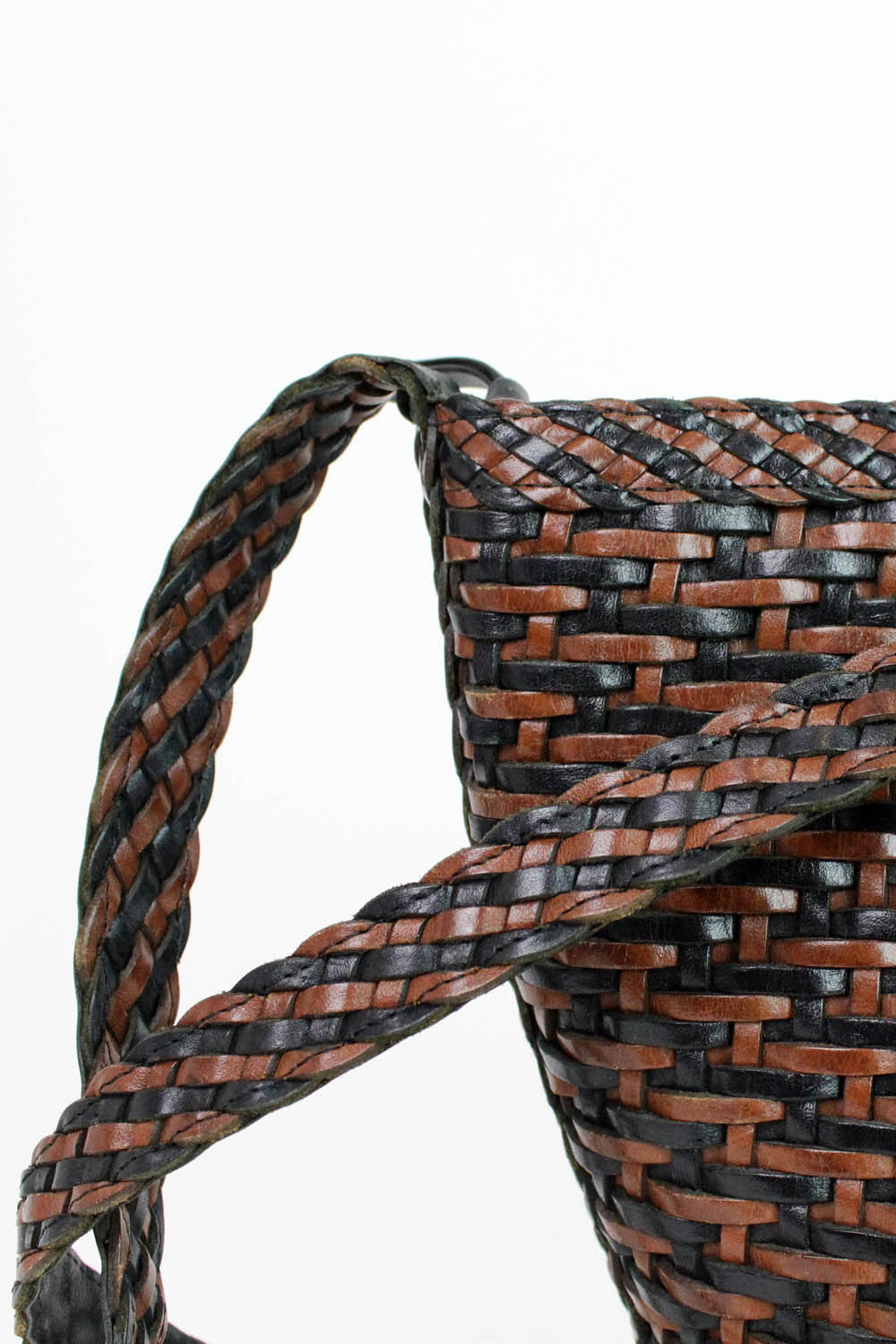 woven leather bag detail