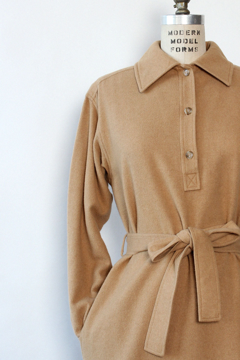 Camel Hair Belted Shirtdress M/L