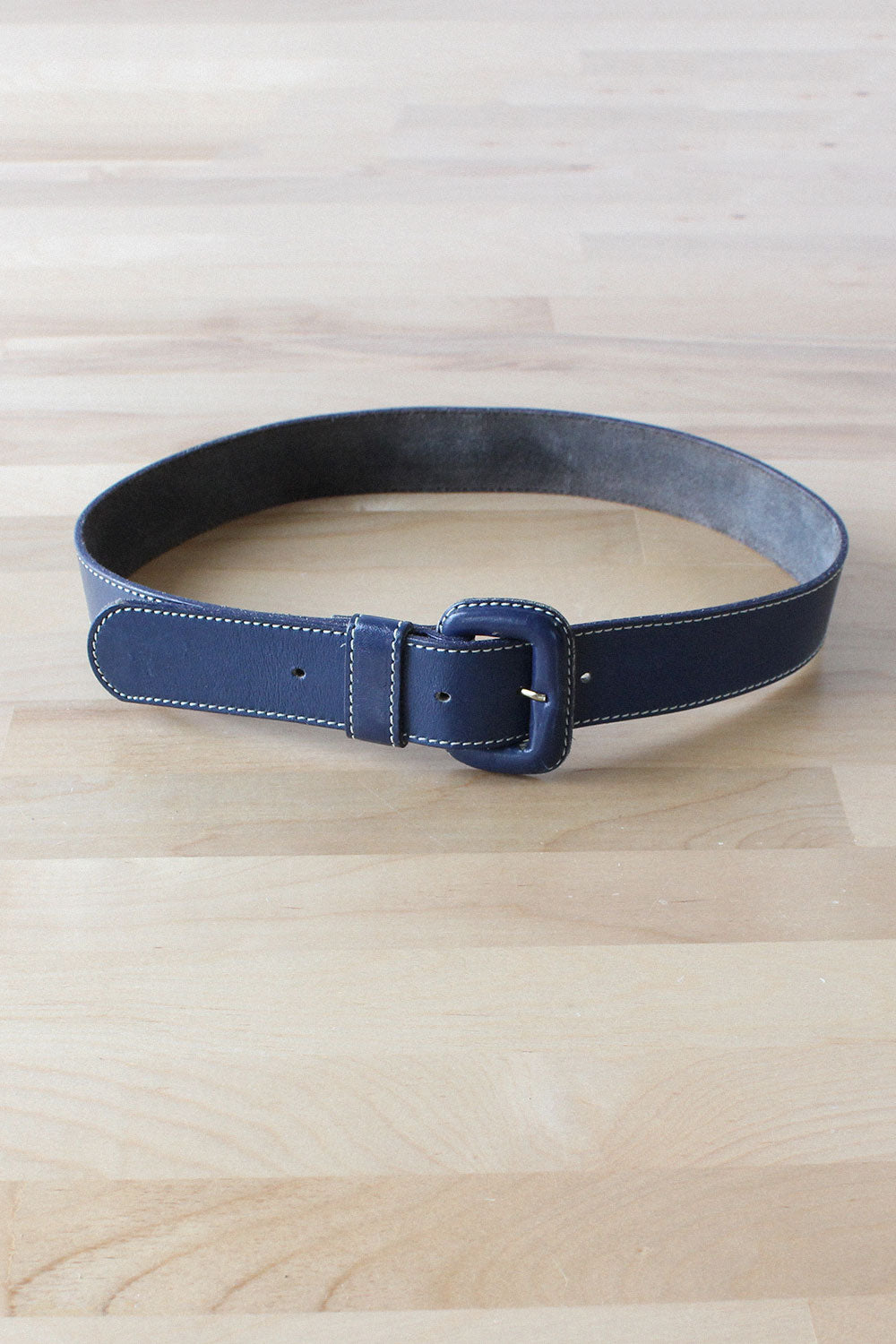 Navy Leather Topstitch Belt