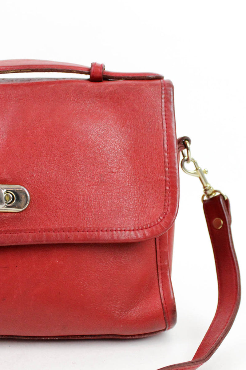 red leather bag detail