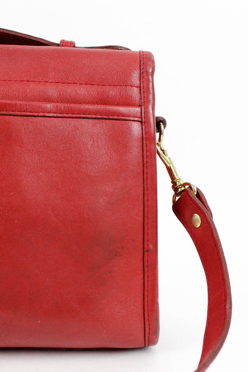 Carmine Red Convertible Satchel Bag