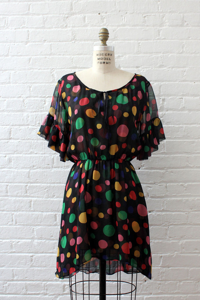 Rainbow Polka Dot Chiffon Dress S/M