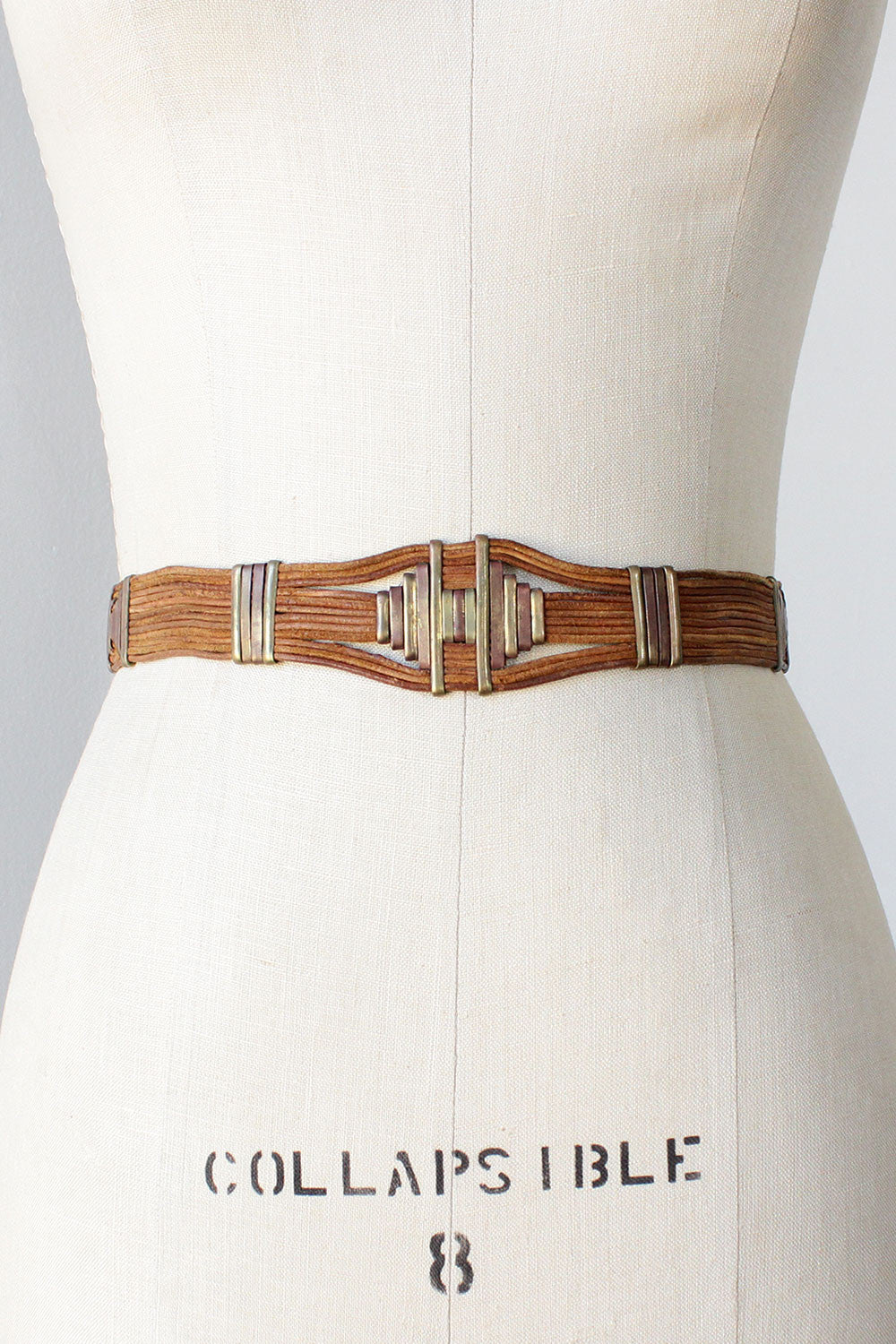 Georgia Leather Brass Statement Belt