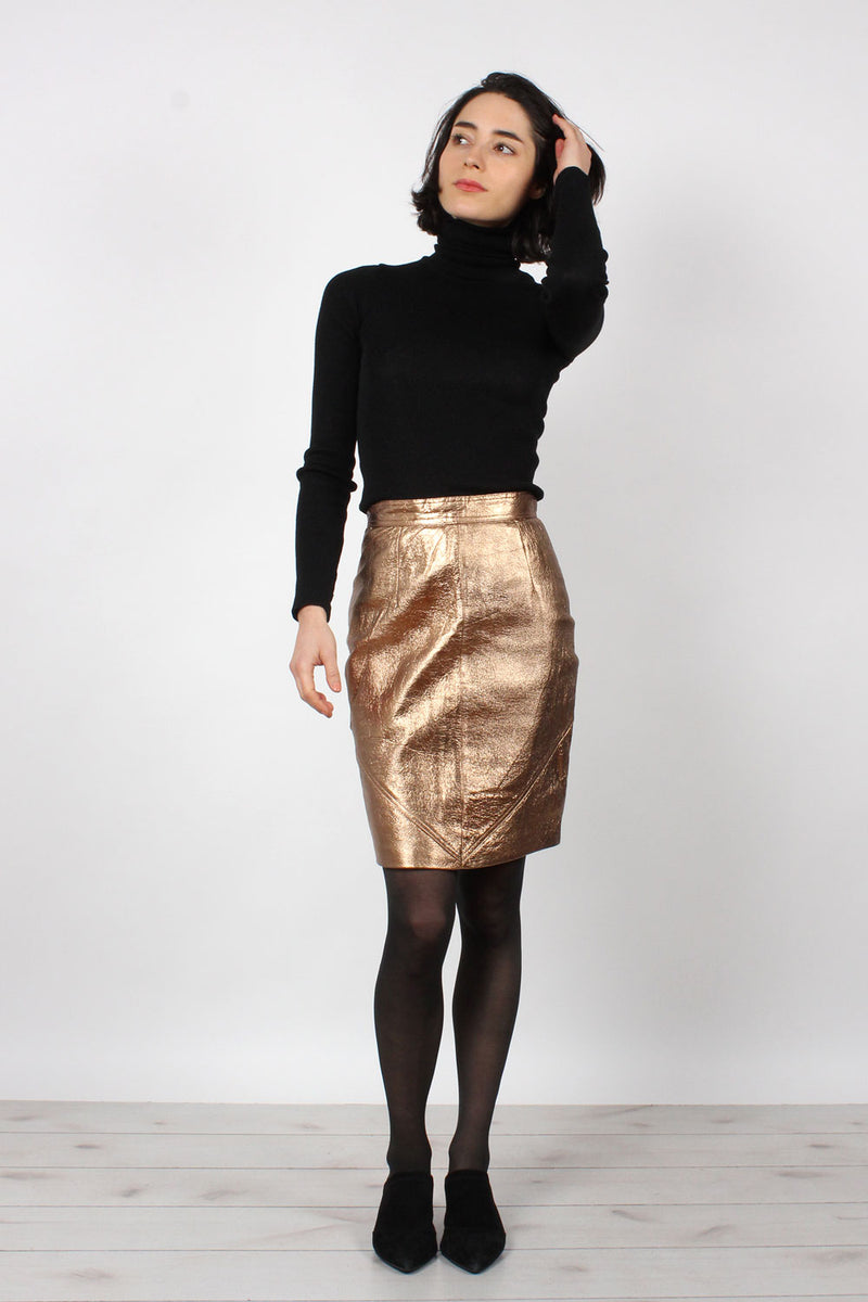 Bronze Leather Skirt XS
