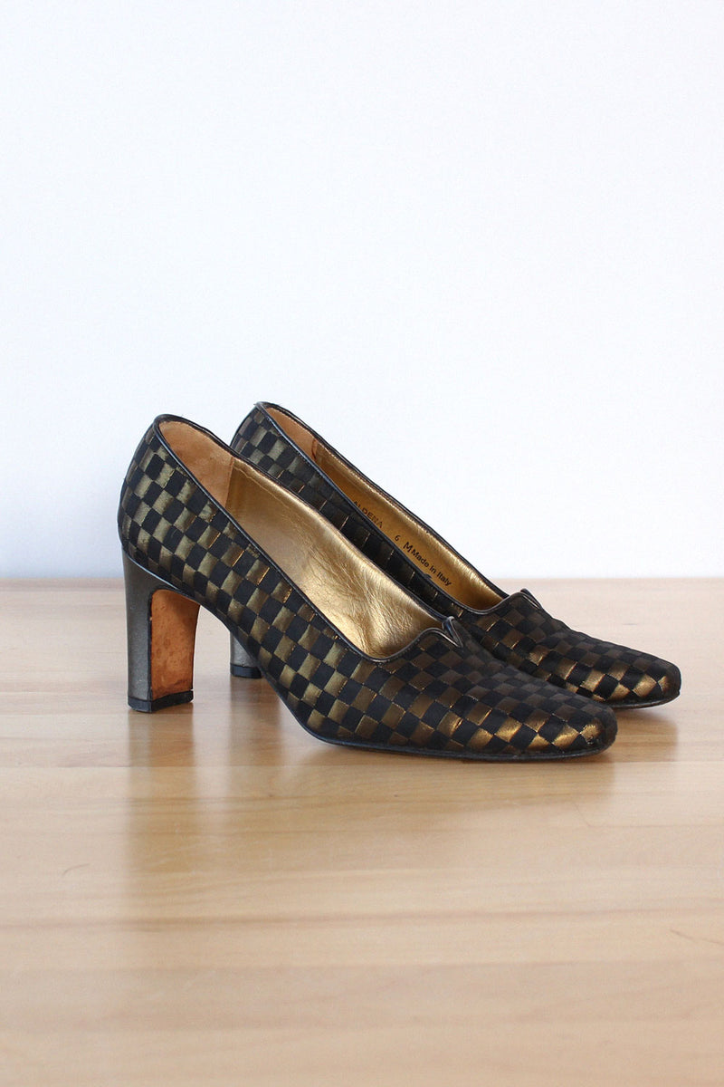 Bally Gold Checker Heels 6