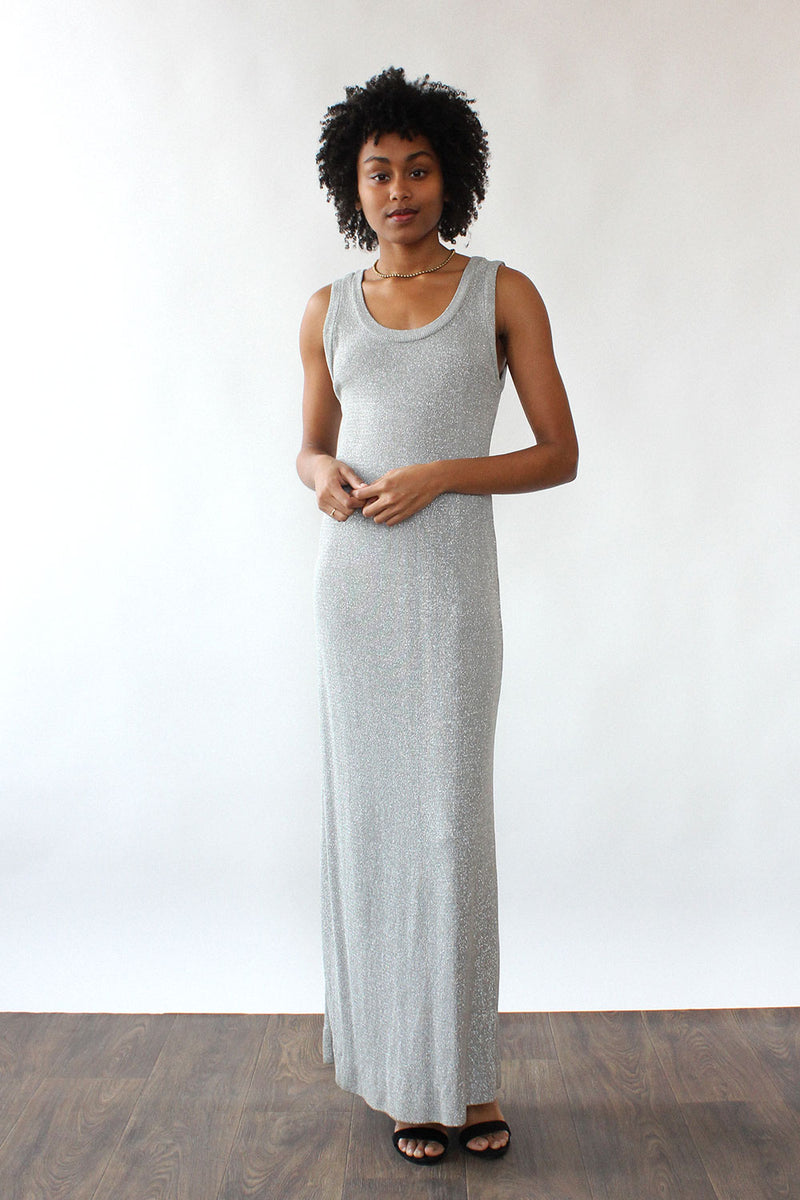 Silver Lurex Knit Maxi Dress S-L