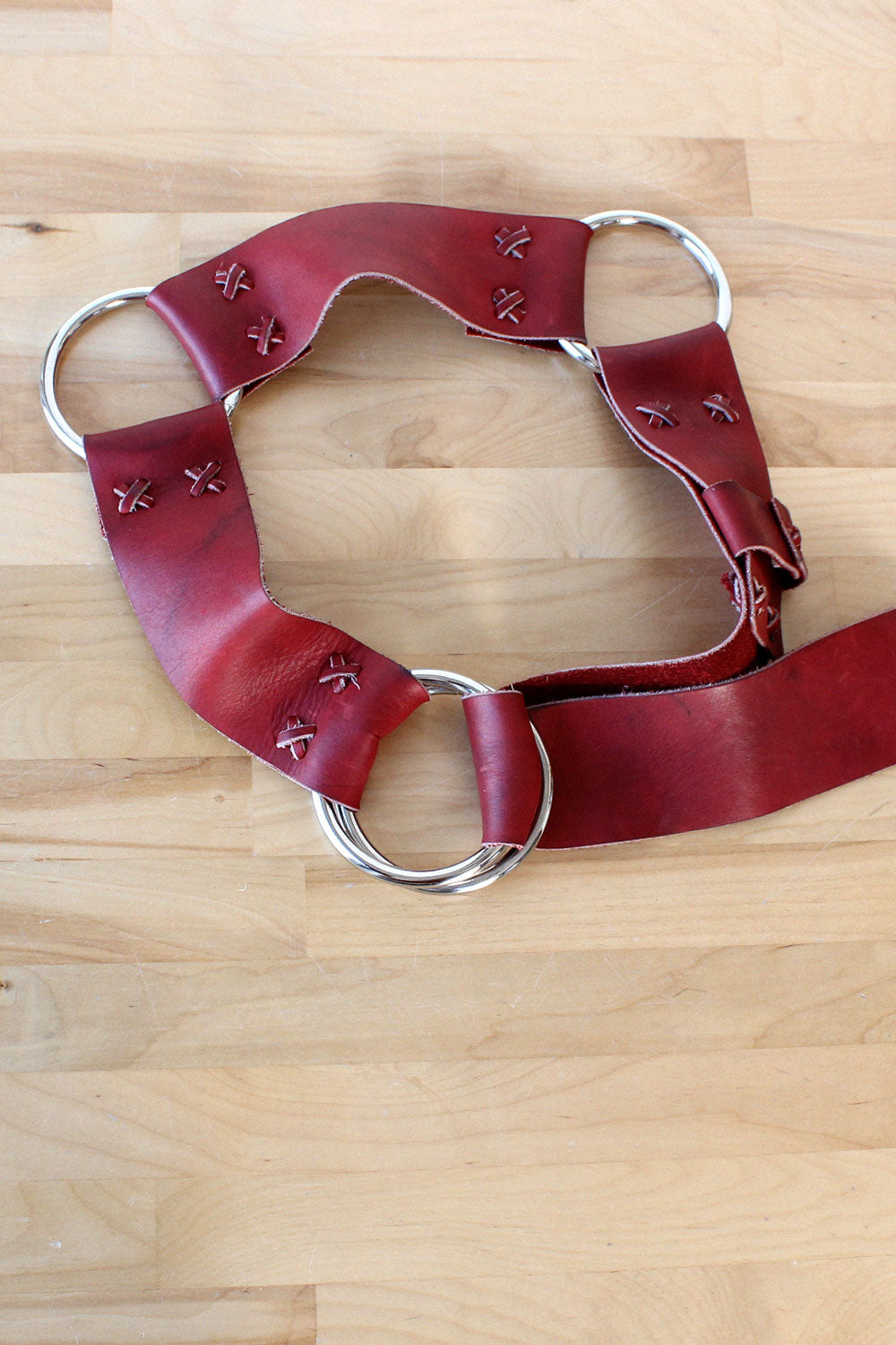 Cherry Leather O-Ring Belt