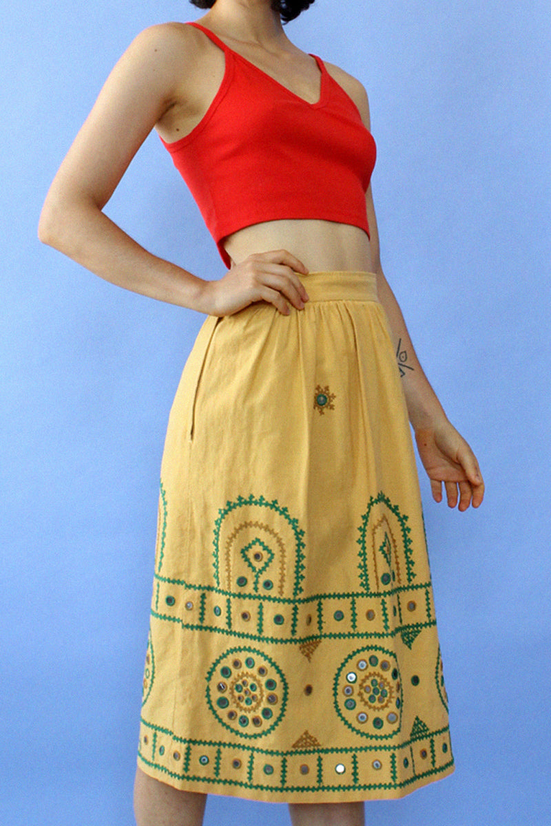 Amber Embroidered Mirror Skirt XS