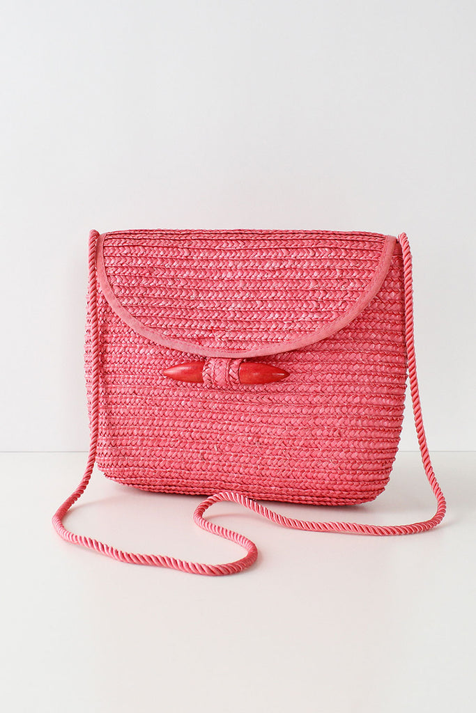 Grapefruit Toggle Straw Bag