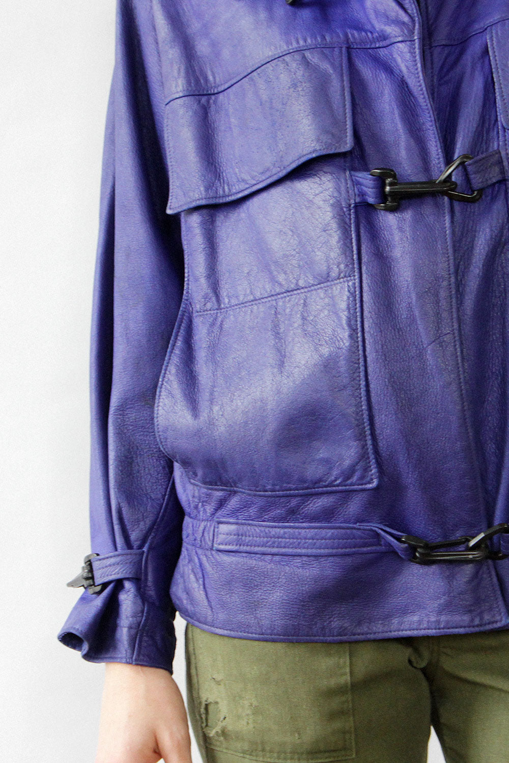 Violet Leather Zipoff Jacket M