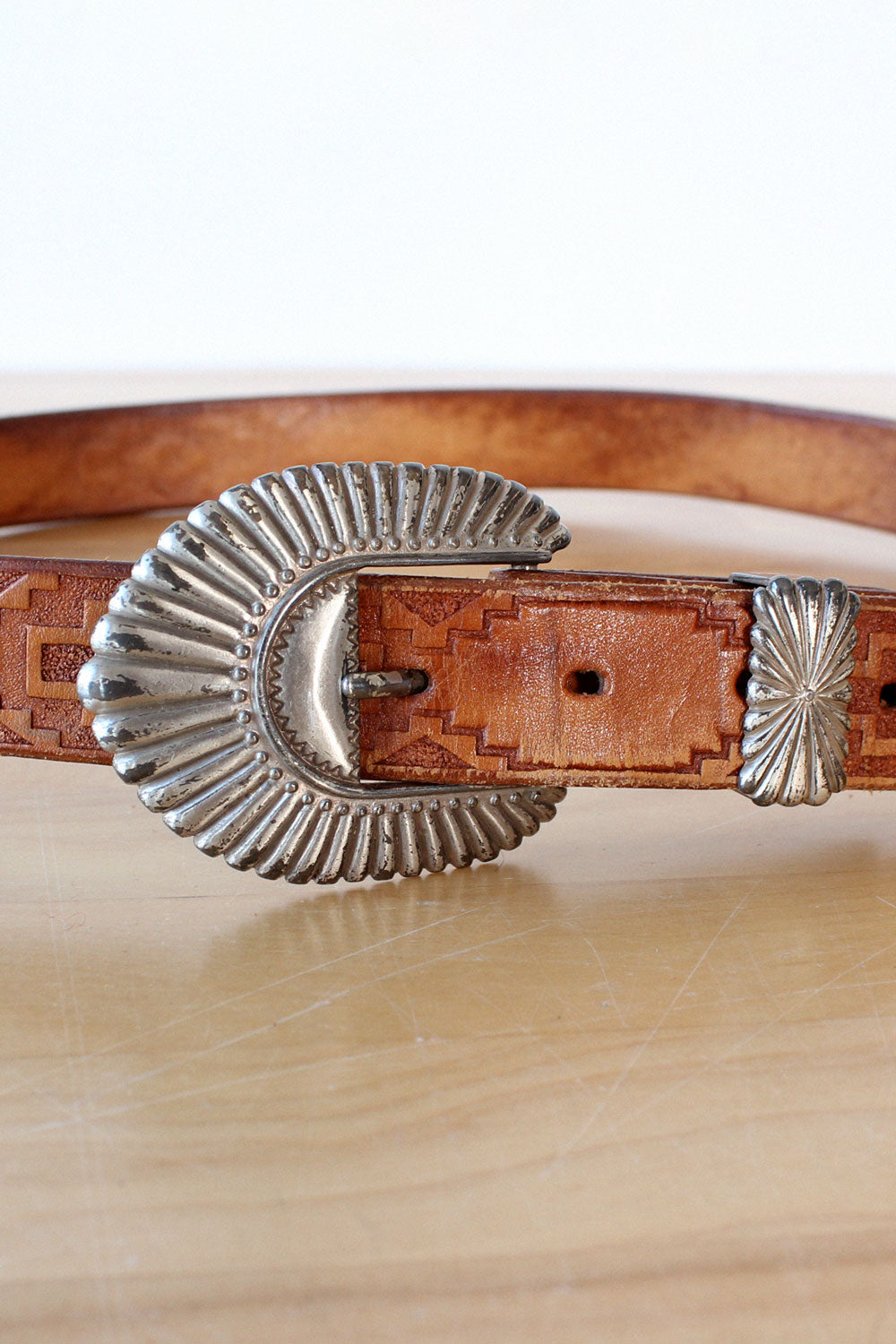 Geo Embossed Western Leather Belt