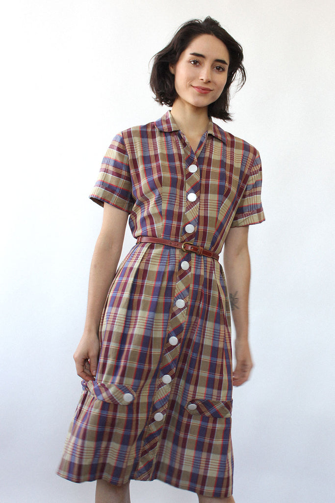 Violet Plaid Shirtdress M
