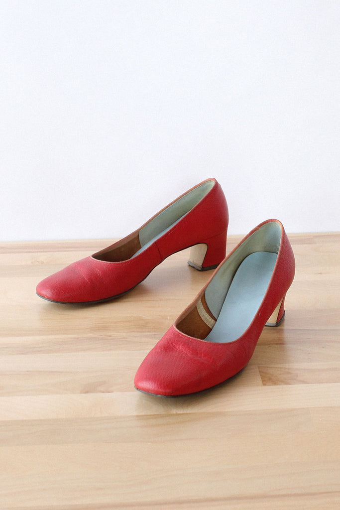 a88735ea63a Brick Red Leather Heels 7 1 2