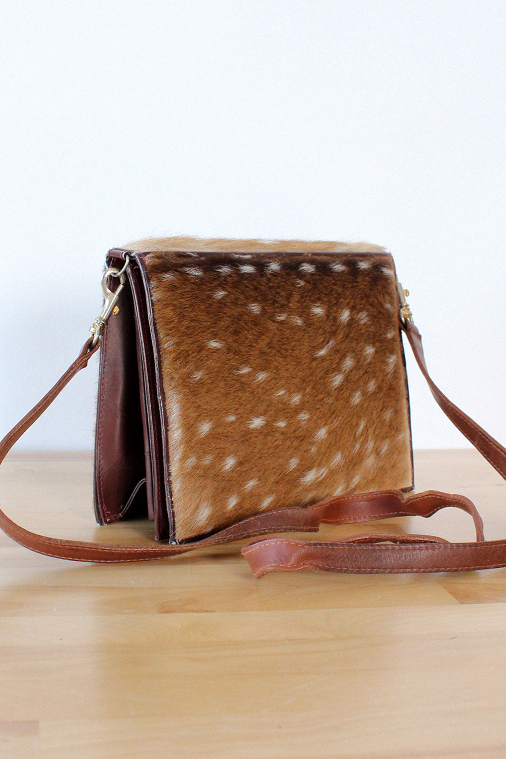 Deer Printed Fur Accordion Purse