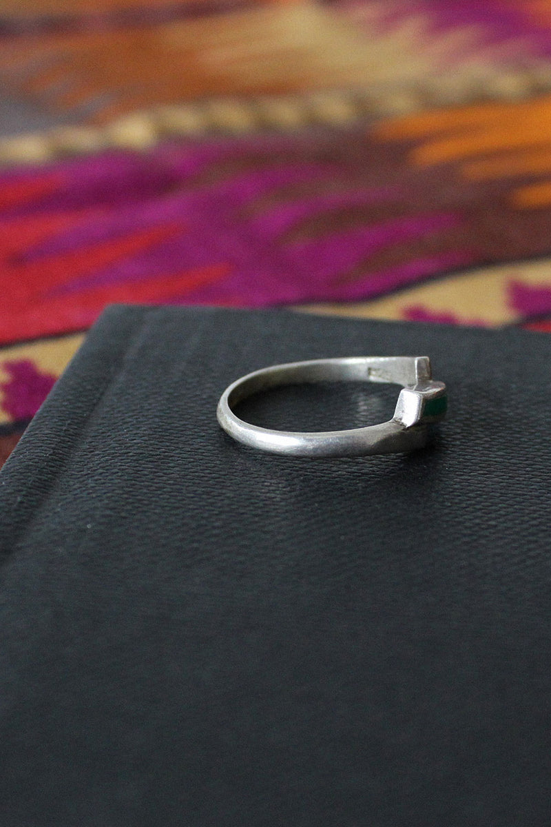 Green Sterling Step Ring