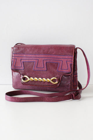 Sharif Merlot Snakeskin Crossbody