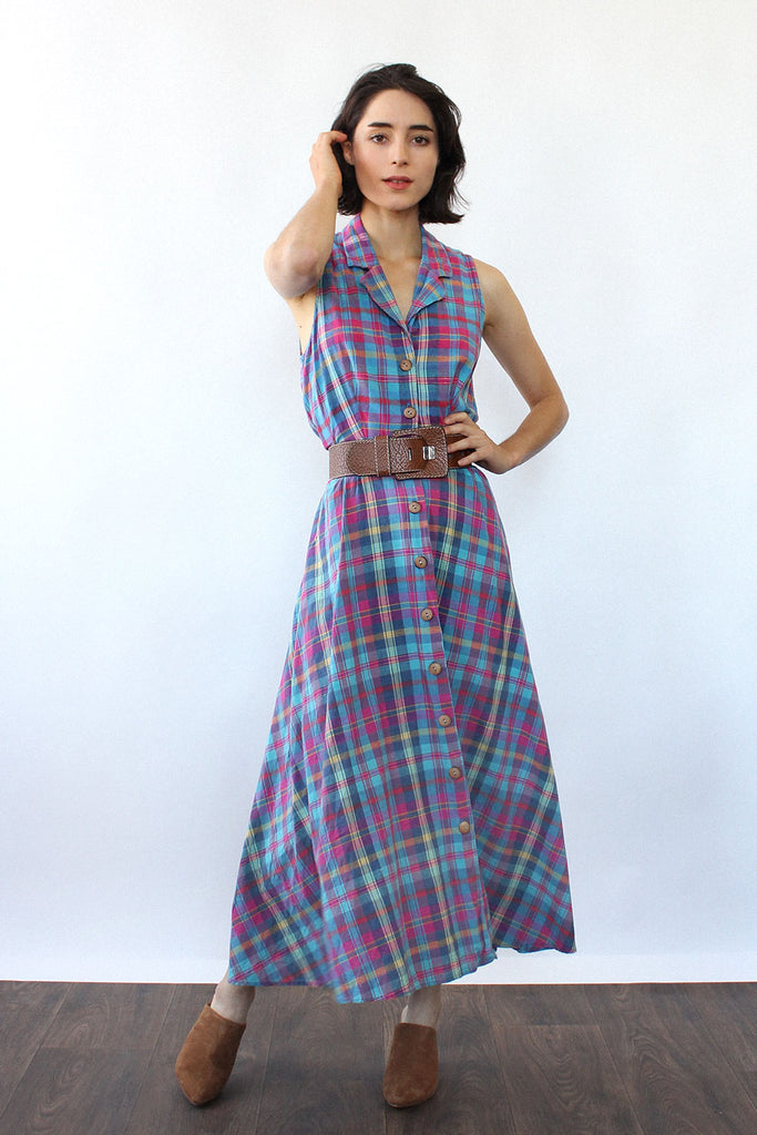 Plum Plaid Flare Dress S/M