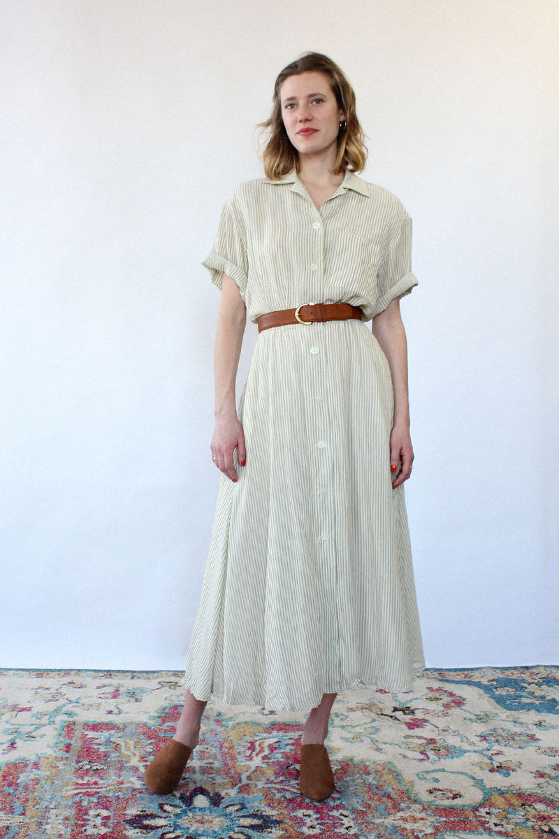 Linen Stripe All Day Dress S/M