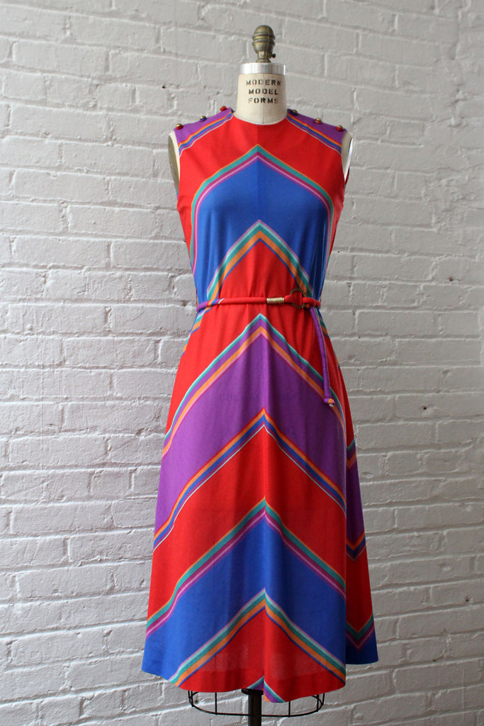 Chevron Berry Dress S-L