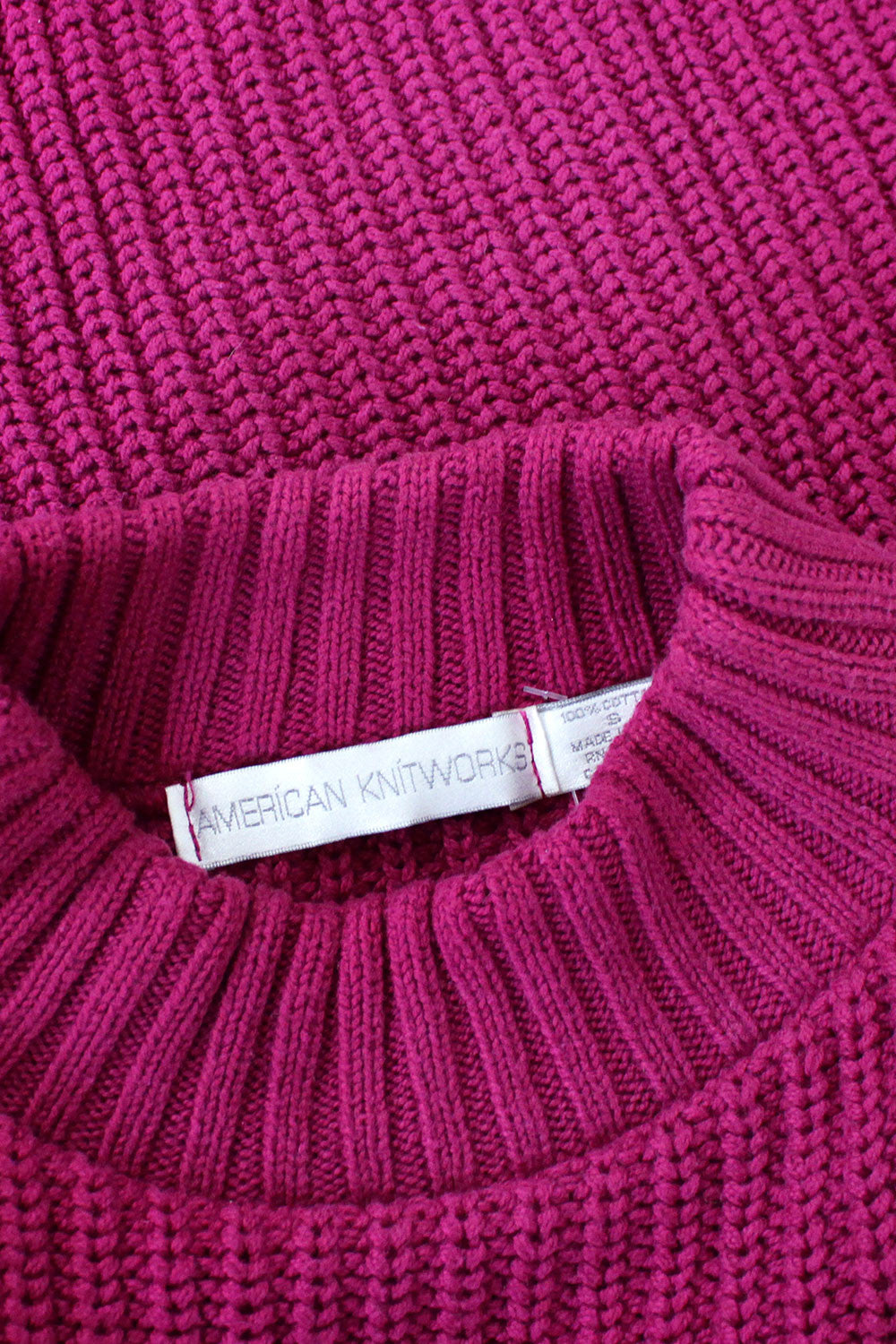 Magenta Cotton Knit Sweater
