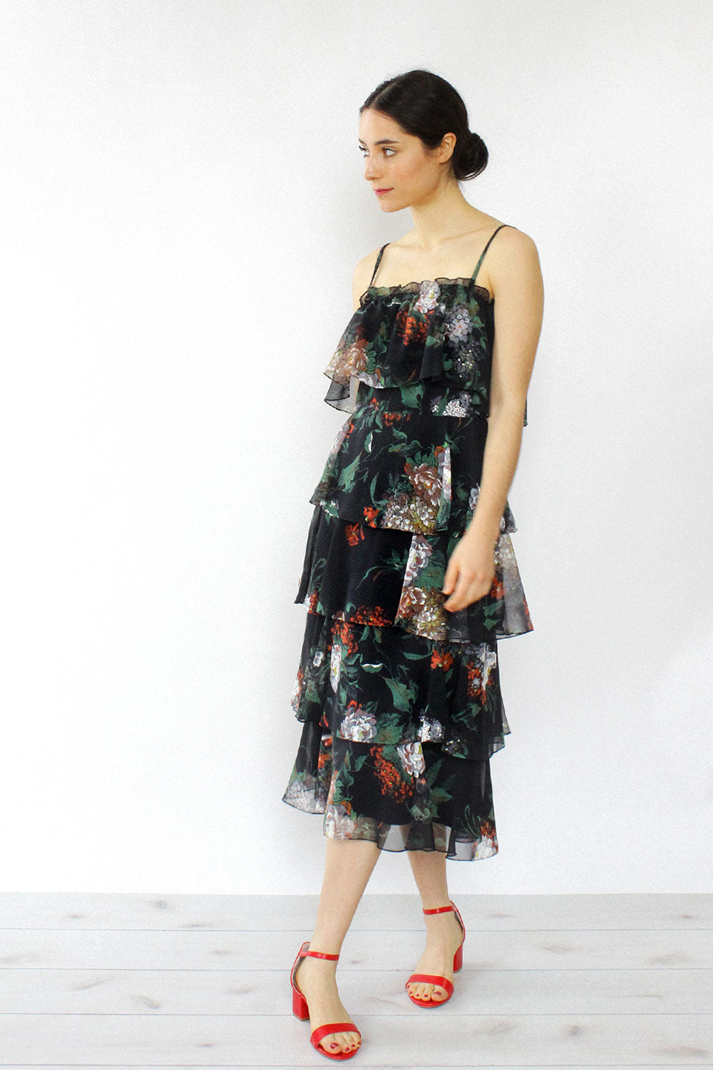 Dusk Floral Tiered Dress S