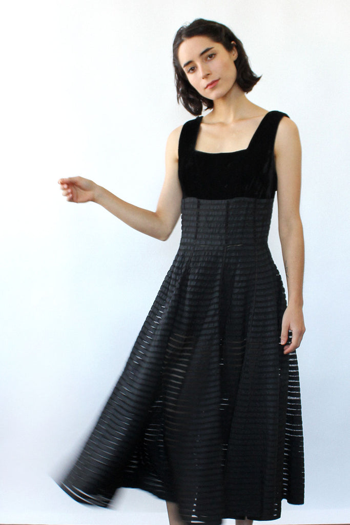 Ribboned Mesh Circle Skirt Dress XS/S