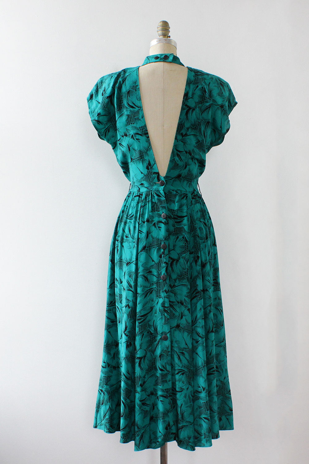 Teal Jungle Open Back Dress S/M