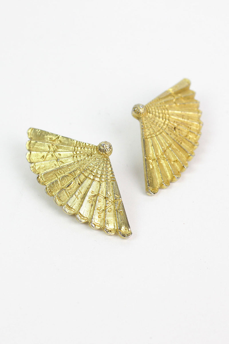 60s Gold Fan Earrings