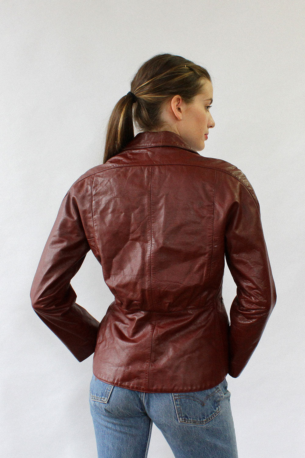 Etienne Aigner Leather Blazer M