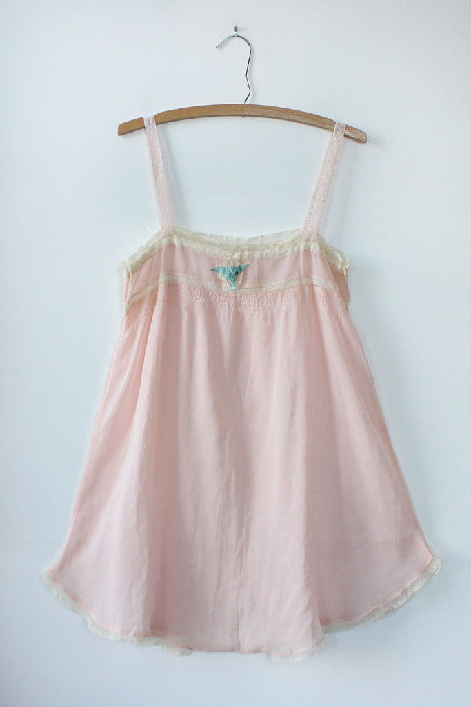 Pale Pink 1920s Cotton Step-In S/M