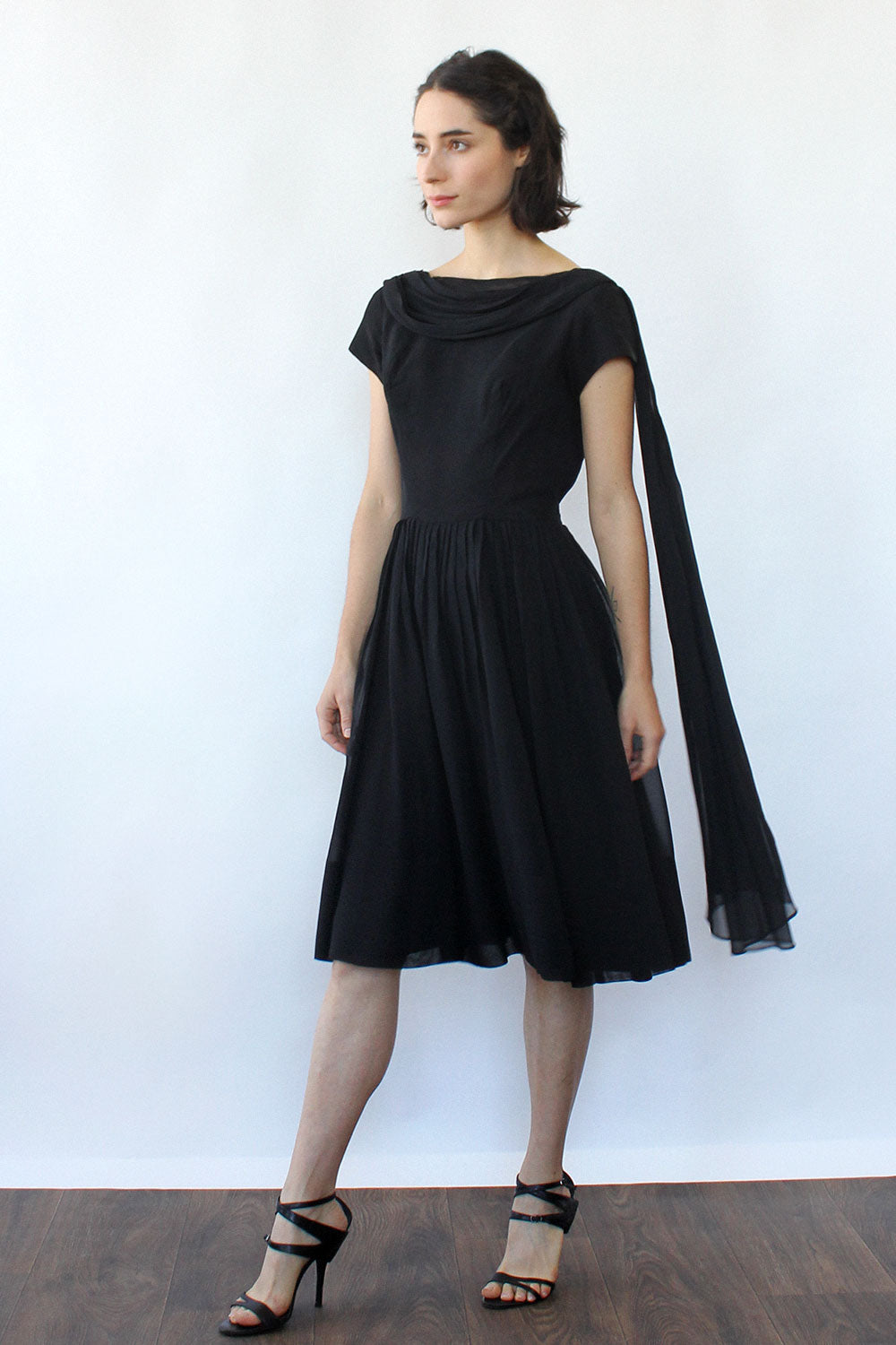 Chiffon Drape Scoop Dress S