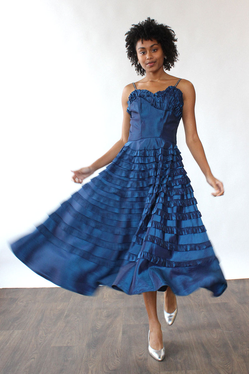 1940s Ruffled Taffeta Dress M