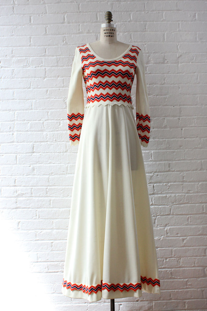 Zigzag Flared Maxi Dress S/M