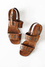 70s Copper & Leather Heeled Sandals 8