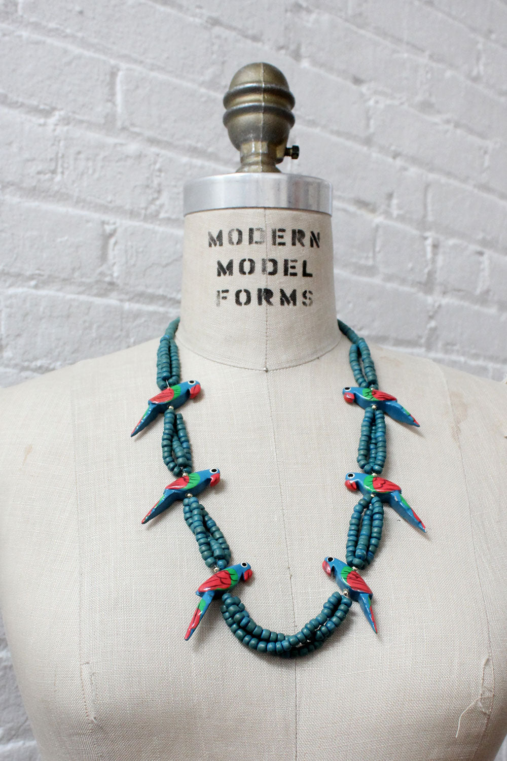 Aqua Parrot Beaded Necklace