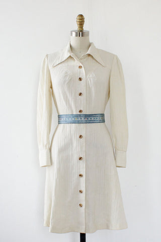 Crinkle Cream Collared Dress S