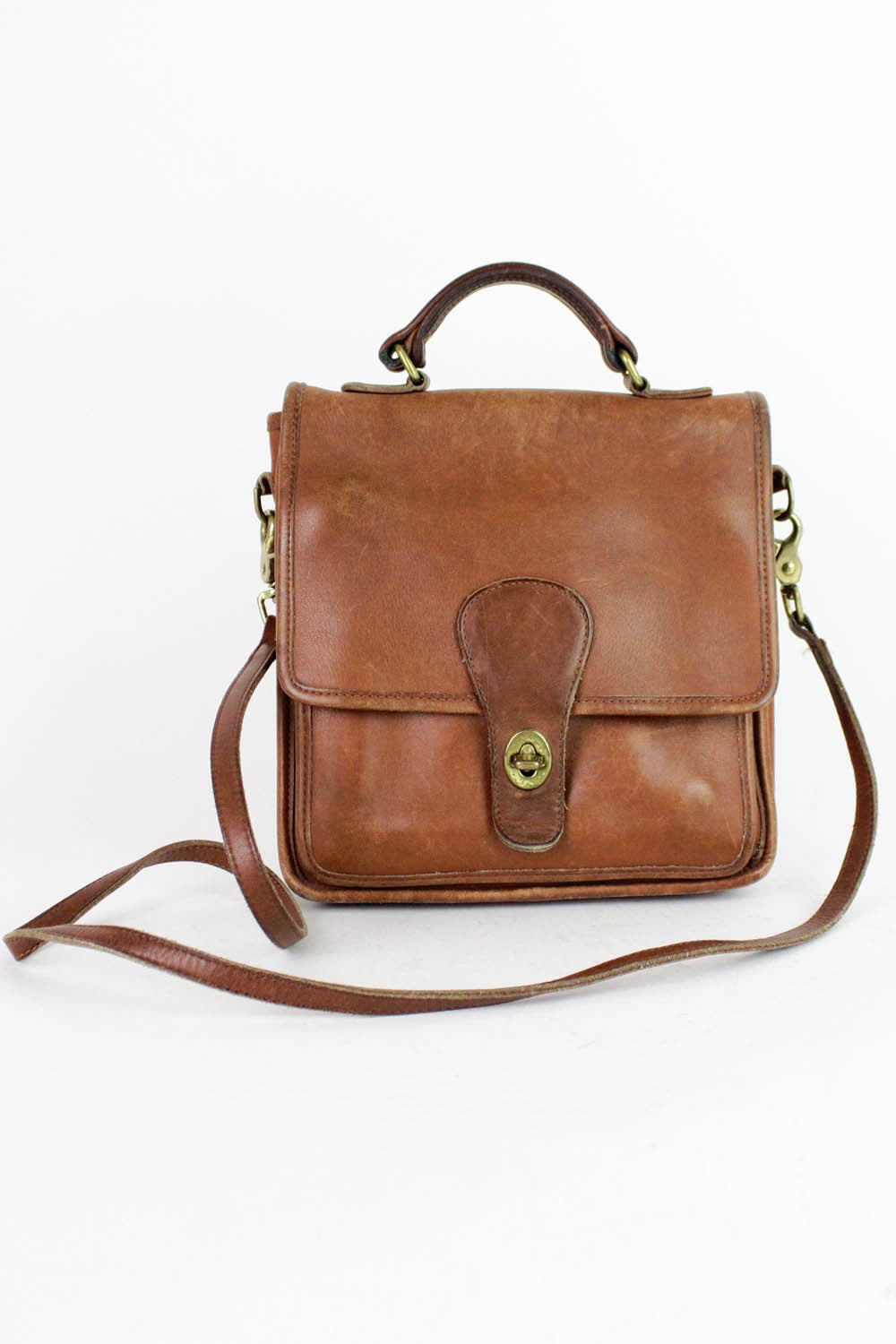 vintage coach brown leather station bag