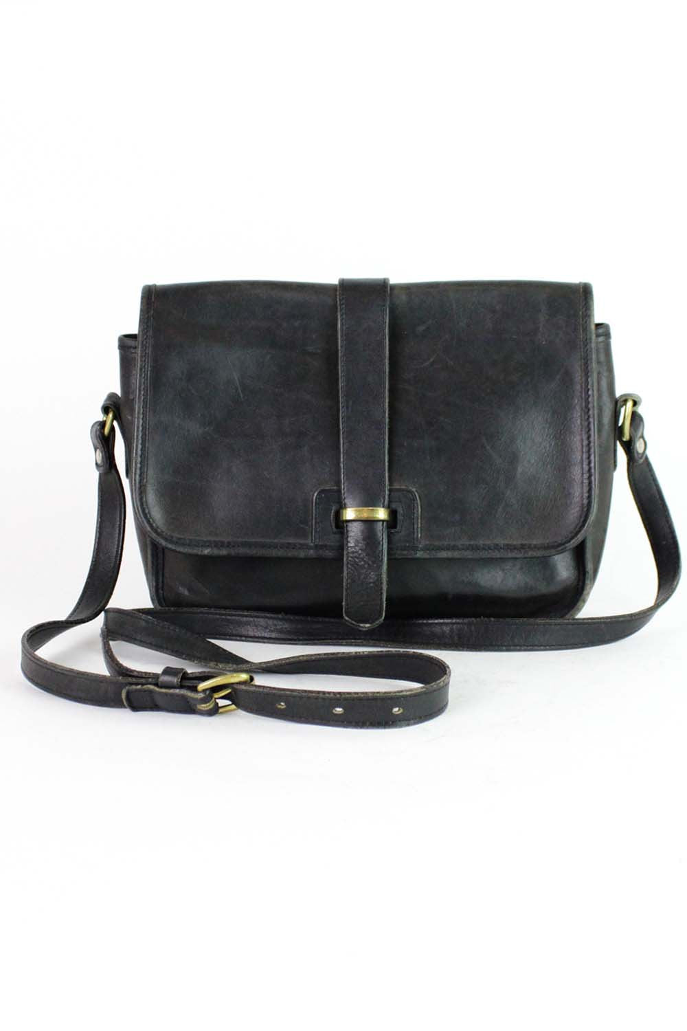 Lands End Black Leather Crossbody Satchel