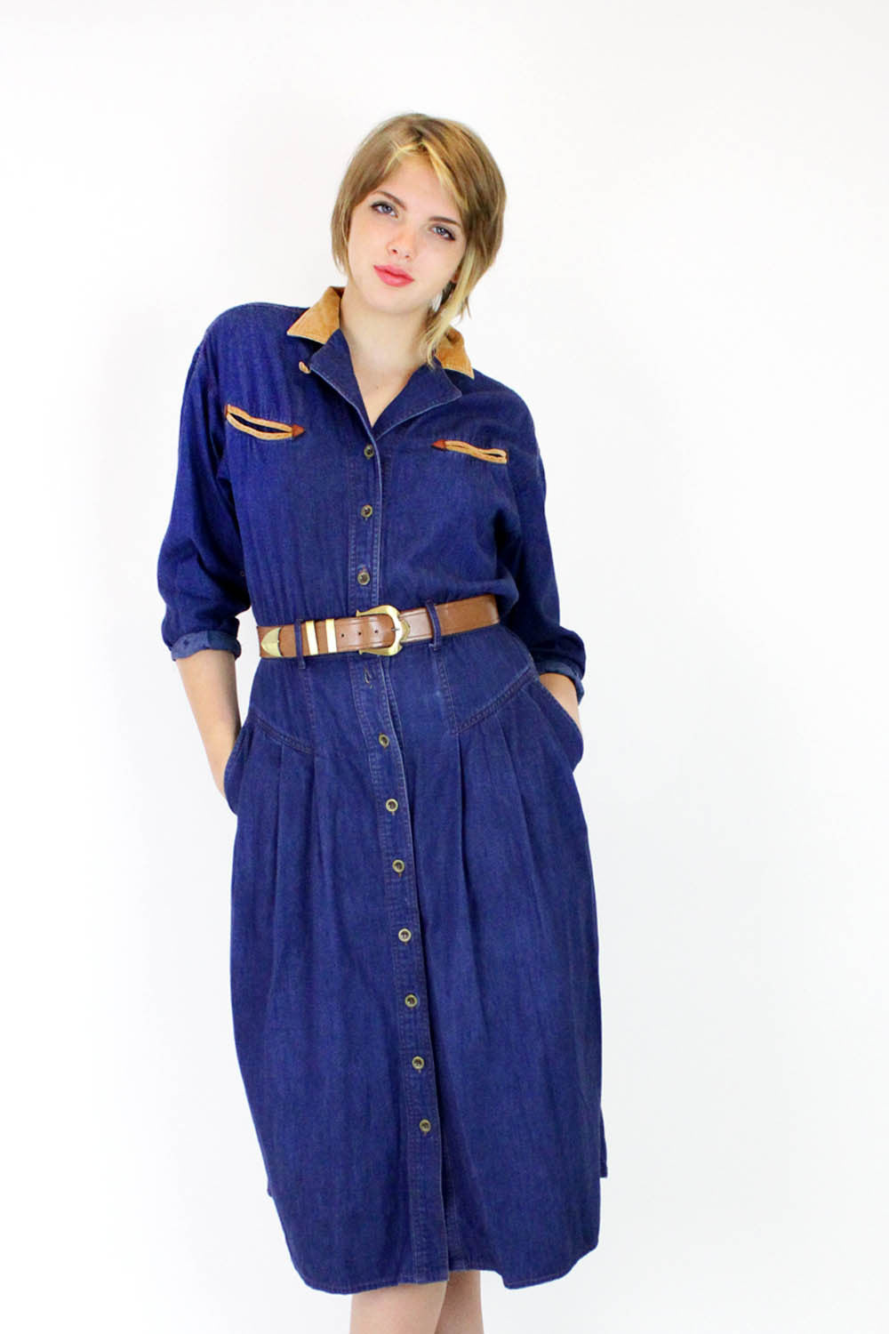 Dark Denim Button Dress S/M