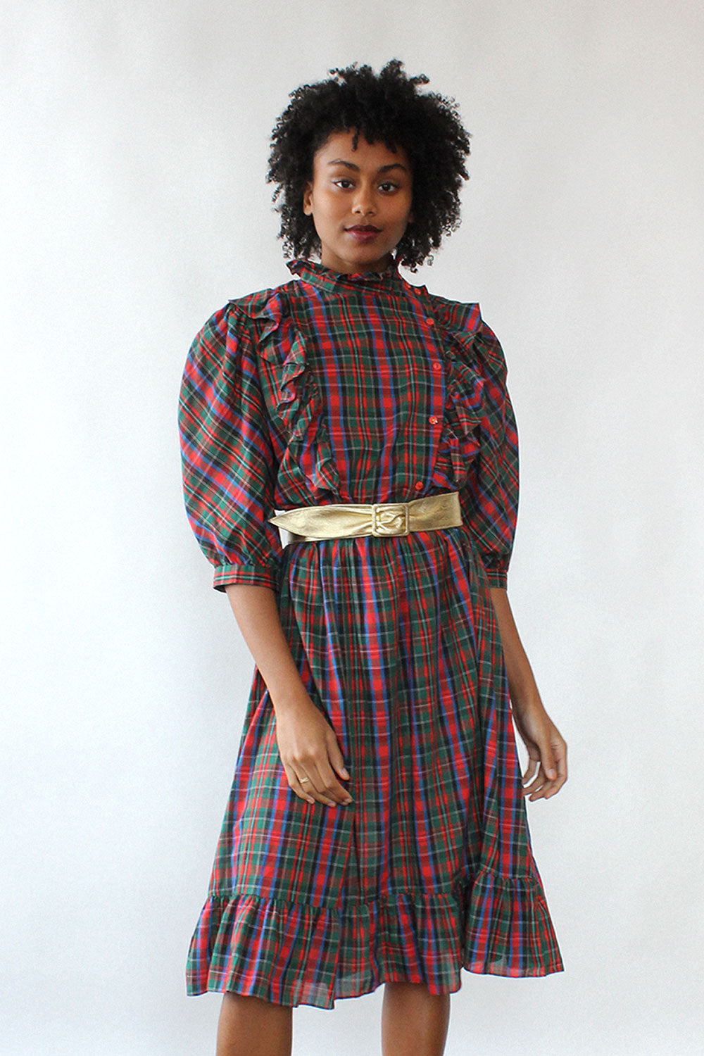 Peppertree Ruffled Plaid Dress M/L