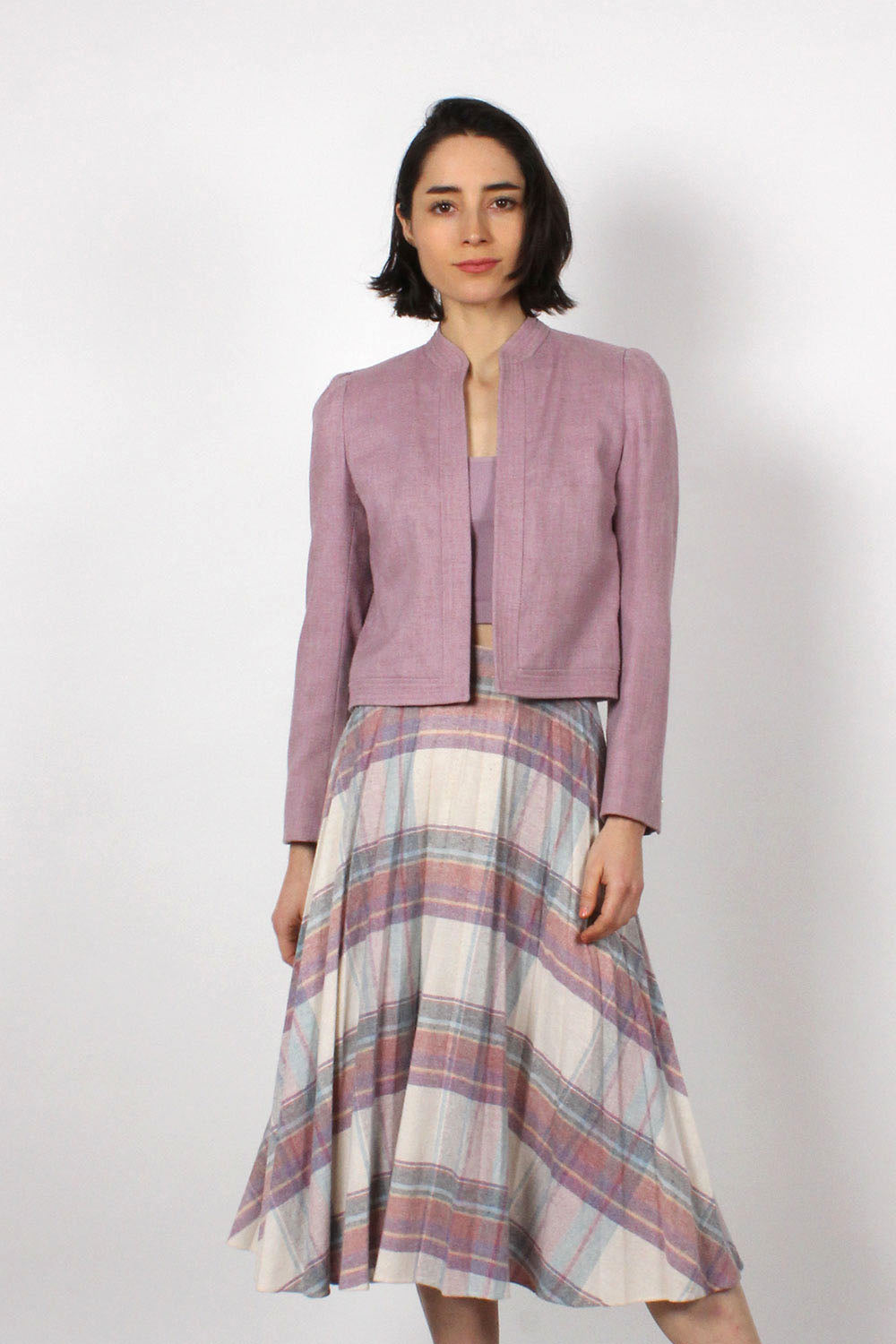 Pleated Plaid Pastel Skirt S