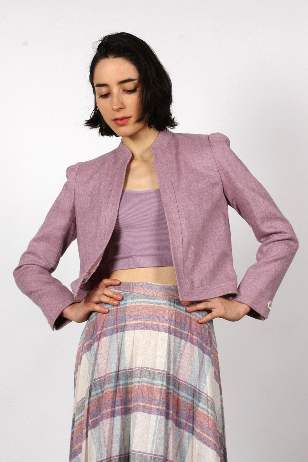 Heathered Mauve Crop Blazer XS