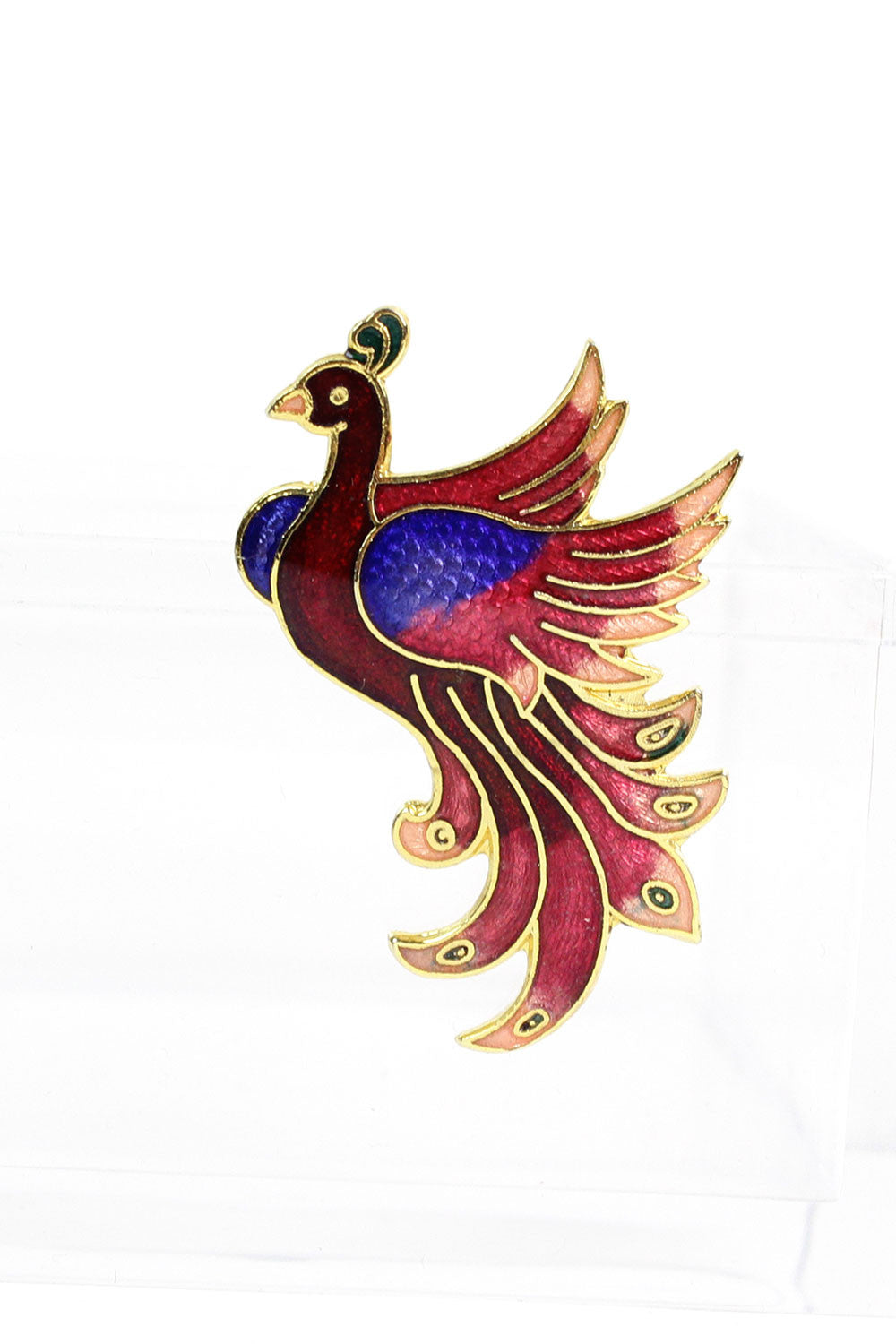 Enamel Peacock Brooch