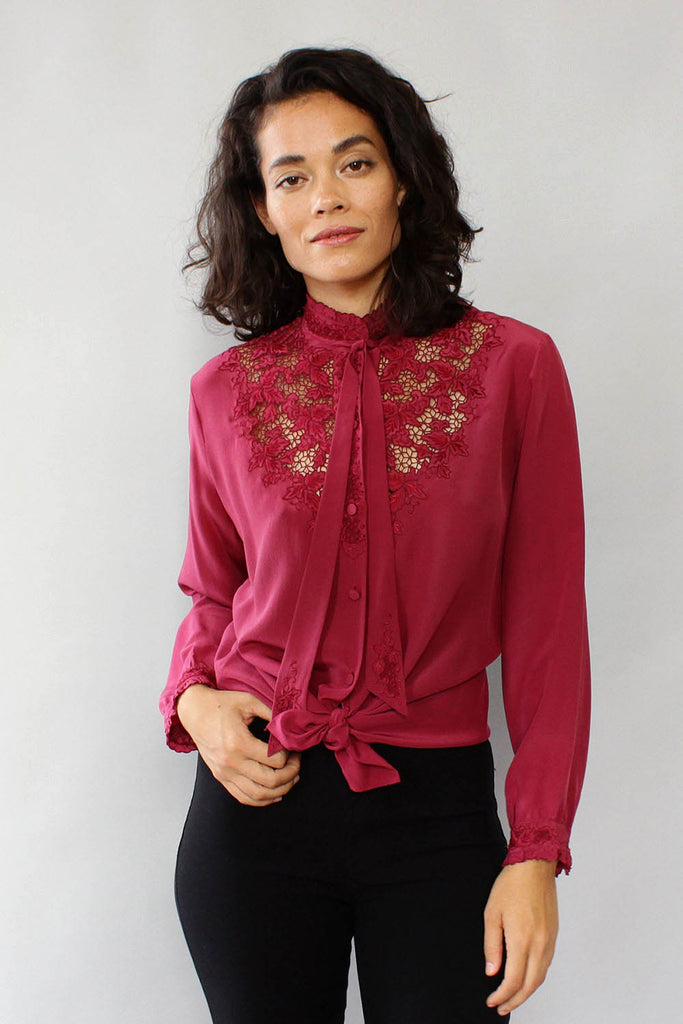 Jasmine Embroidered Silk Blouse M/L
