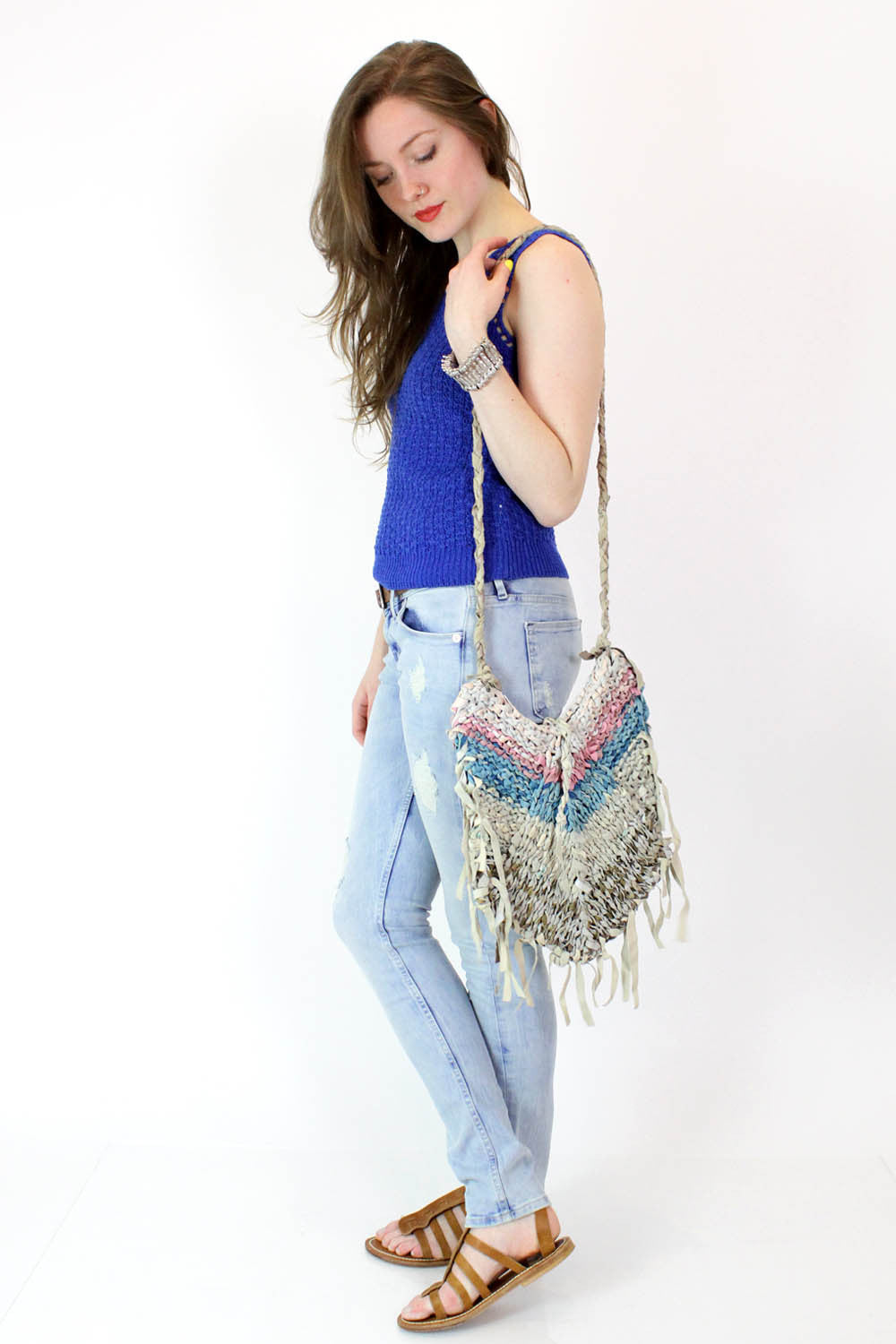 Knit Leather Crossbody Bag