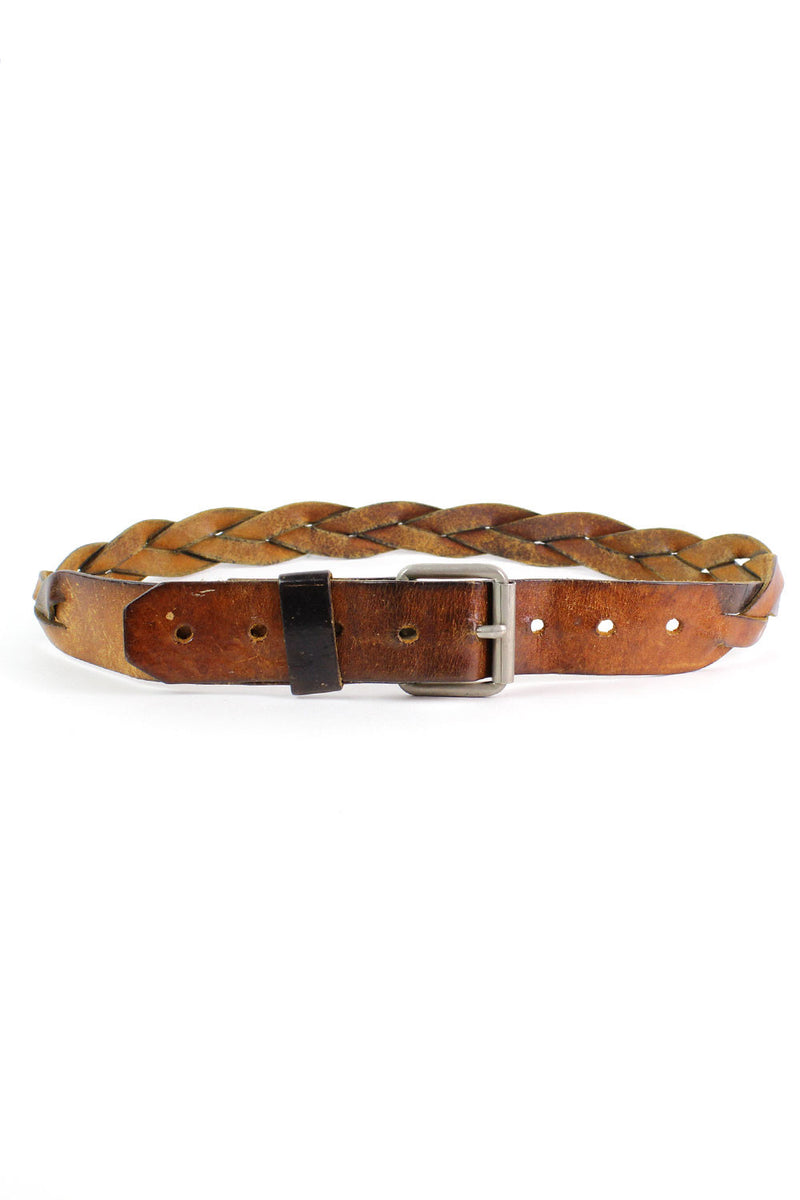 Aged Braided Leather Belt