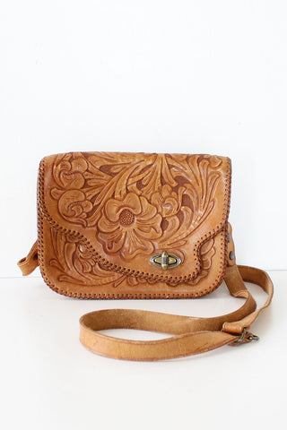 Floral Tooled Convertible Bag